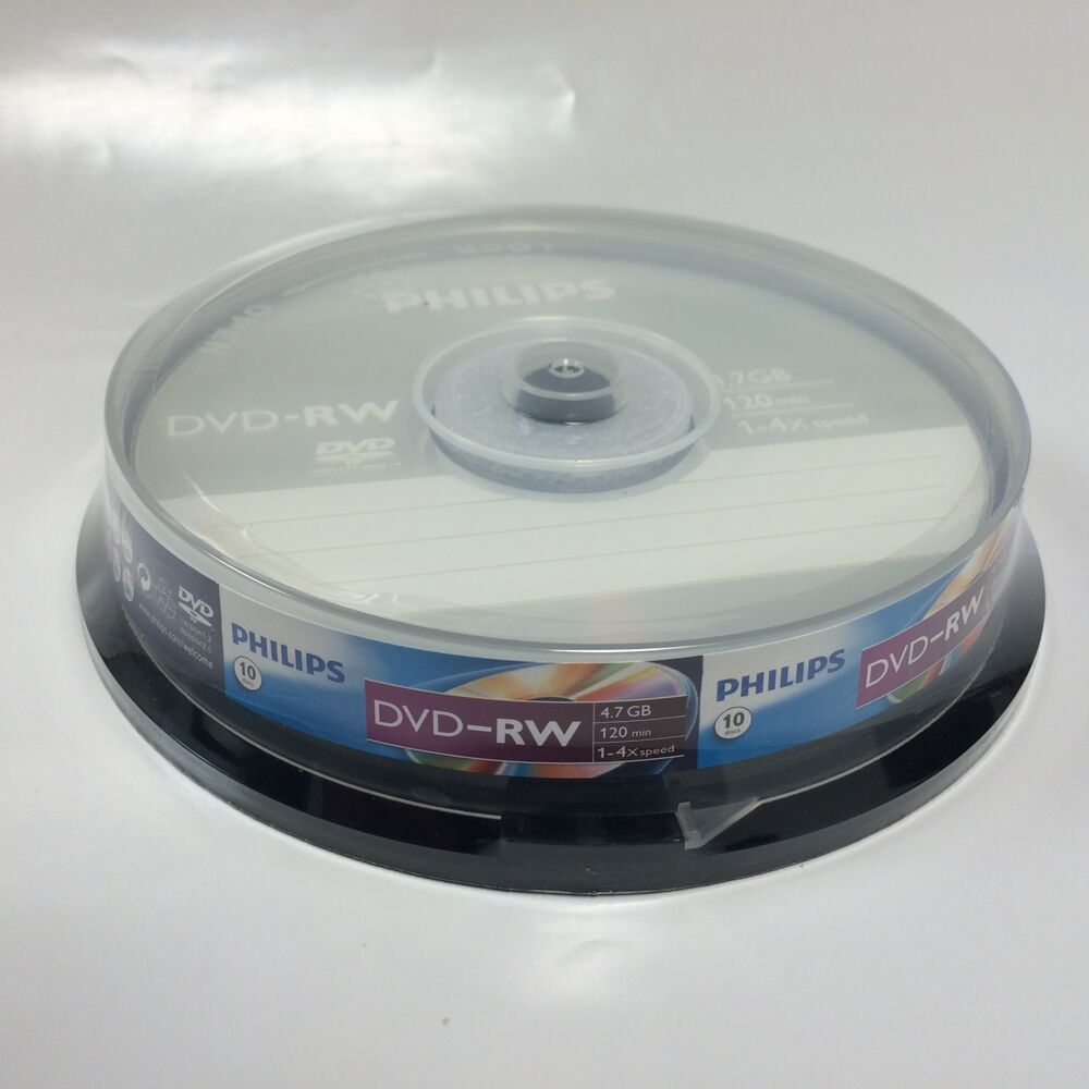 10 philips 4x logo dvd rw dvdrw rewritable blank disc media 4 7gb with cake box ebay. Black Bedroom Furniture Sets. Home Design Ideas