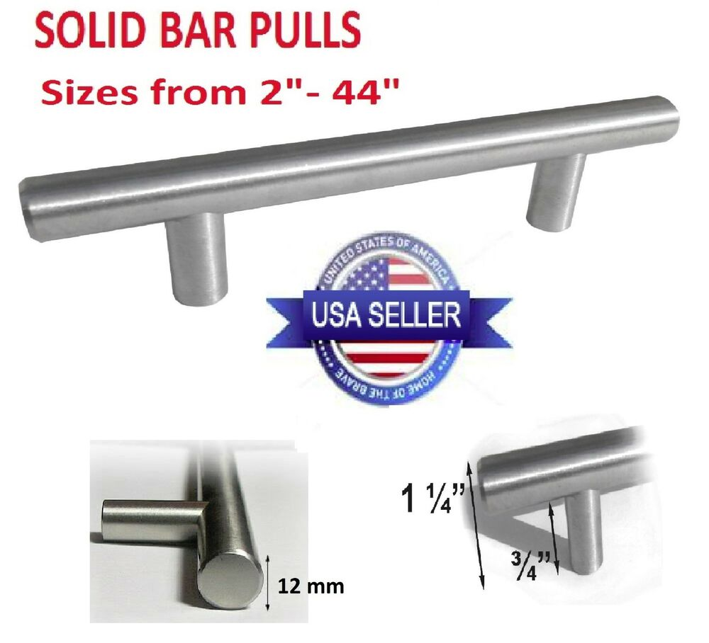Door Handles Kitchen Cabinets: Kitchen Cabinet Door Handle Brushed Nickel SOLID Bar Pulls