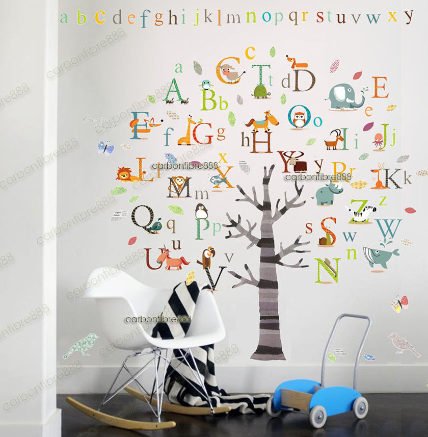 huge alphabet abc tree wall stickers art decal educational