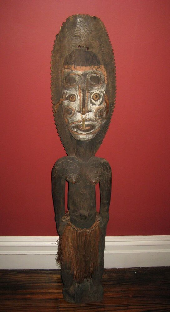 unusual 39 u0026quot  old african itamul  carved wood sculpture