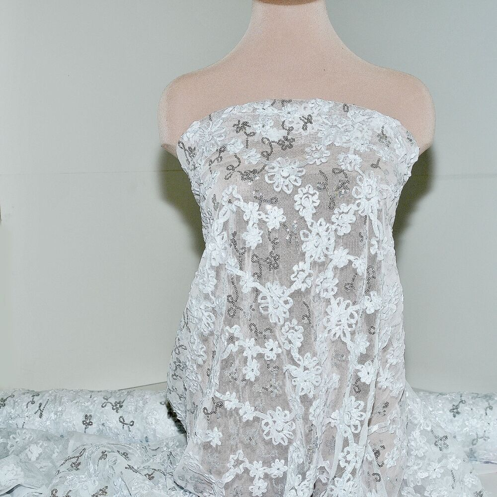 Stretch mesh lace ribbon sequin fabric white pageant for White lace fabric for wedding dresses