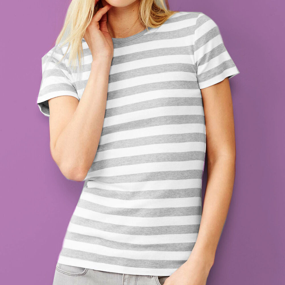 Gap woman modern crew neck grey bold striped short sleeve for Gap petite t shirts
