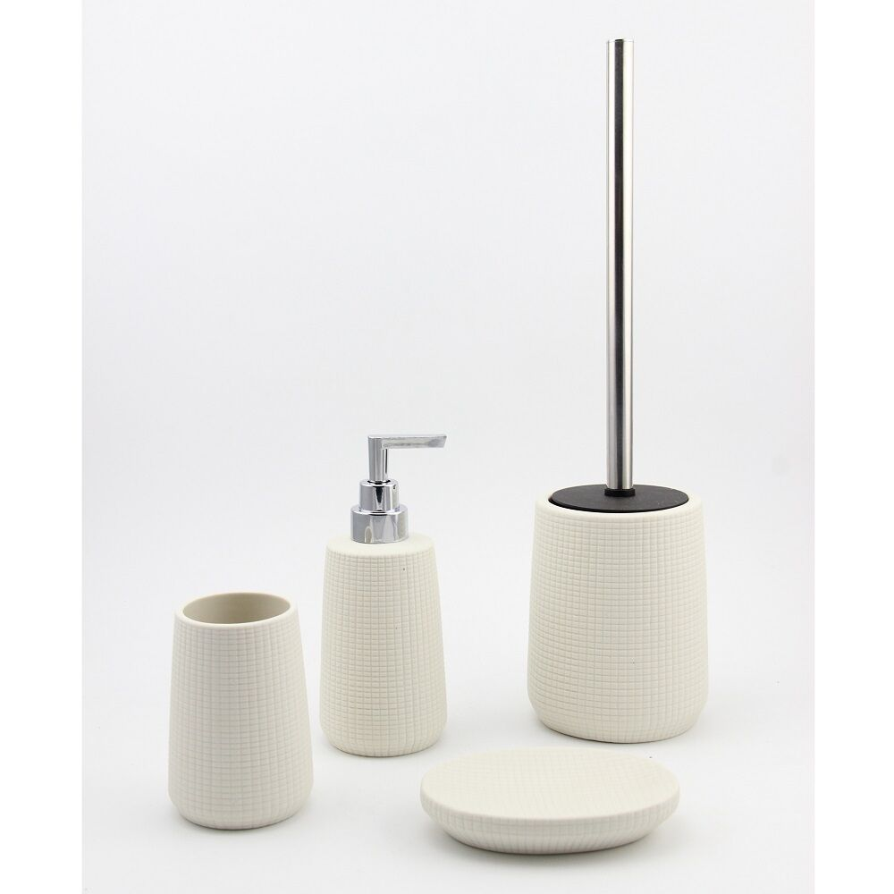 Serenity bathroom accessories set tumbler soap dispenser soap dish toilet brush ebay - Bathroom soap dish sets ...