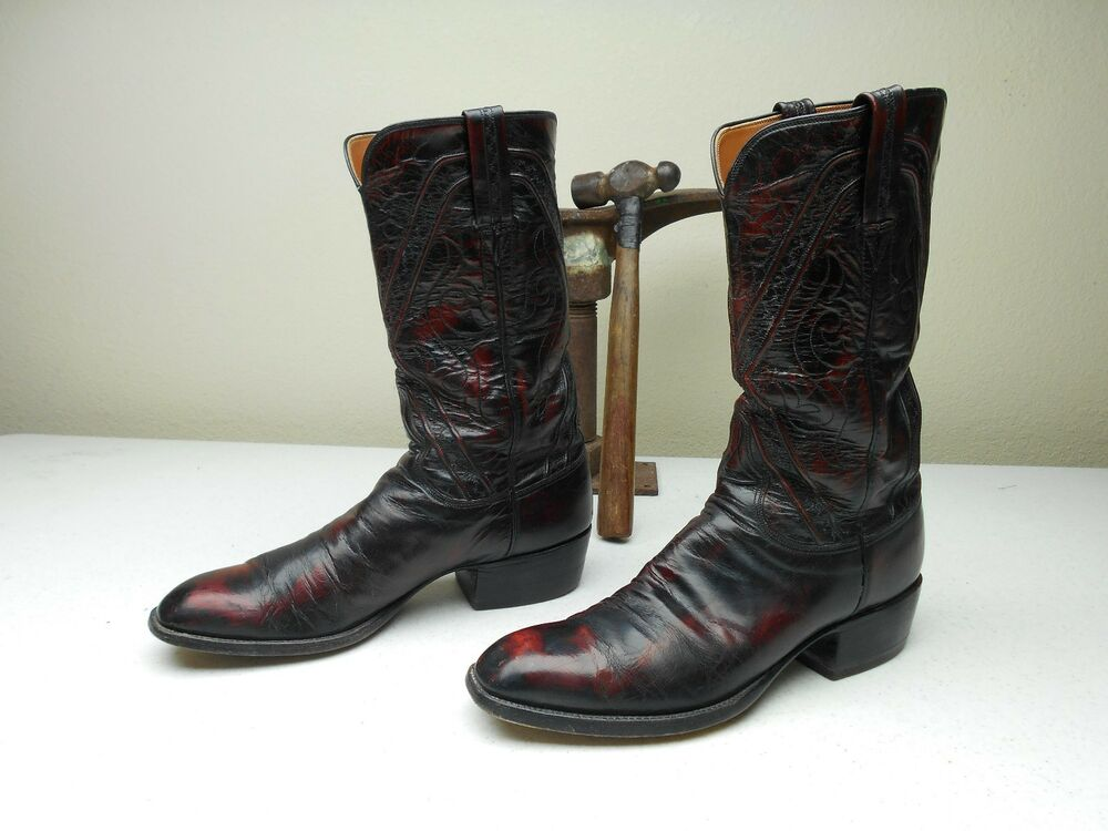 Vtg Lucchese Black Cherry Made In San Antonio Country
