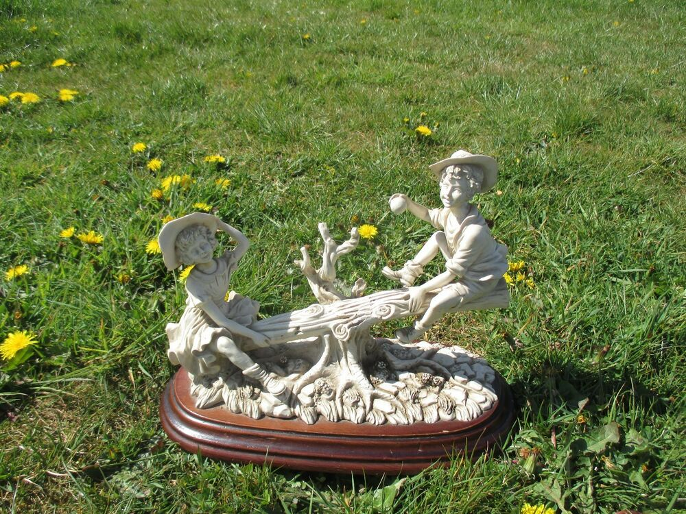 Vintage Capodimonte Porcelain Boy And Girl Sitting On A