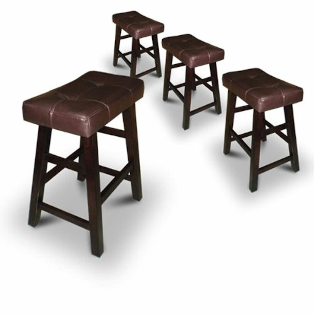 4 Bar Stools 24 Quot Or 29 Quot High Dark Espresso Wood With