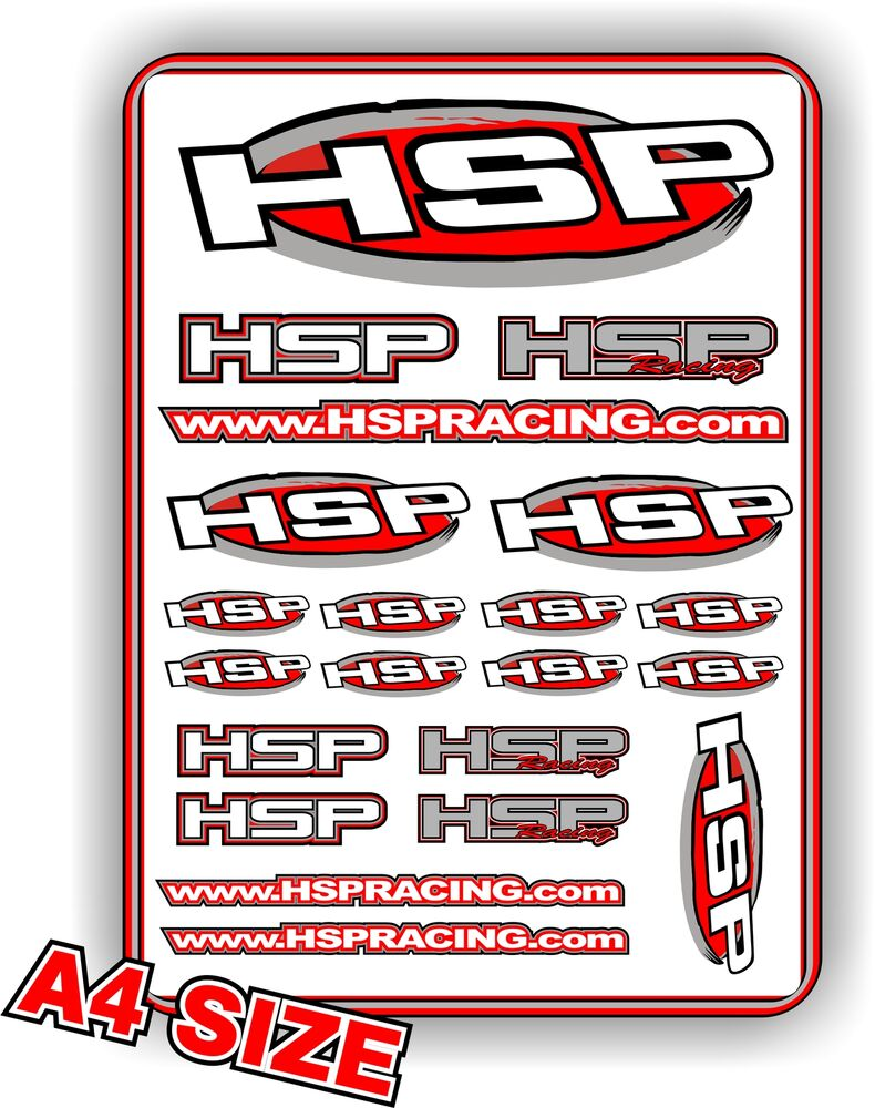 Details about hsp rc car sticker set 1 10 1 8 rc car size a4 decal sheet bnip hsp racing hsp