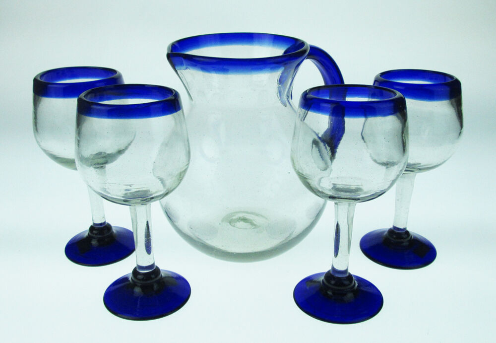 Mexican Glass Wine Blue Rim With Matching Bola Pitcher