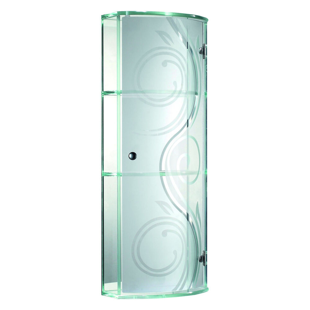 curved tempered glass wall cabinet with mirror back for bathroom