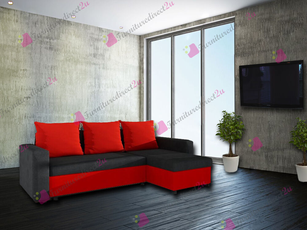 Corner sofa bed oscar in black and red colour look new for Sofa en l liquidation