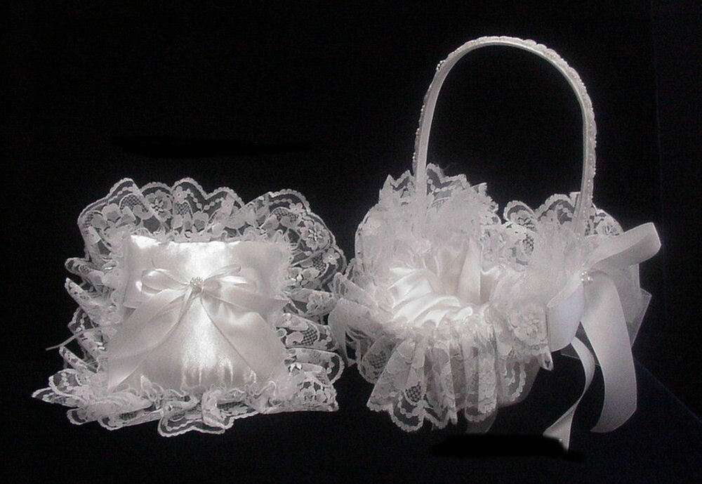 White Floral Lace Flower Basket And Ring Pillow Wedding Set Available