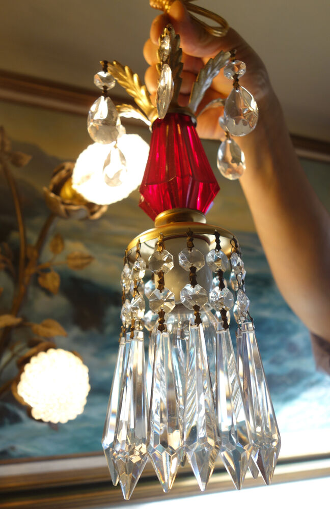1of5 Vintage Ruby Red Lucite Hanging Mini Tole Lamp