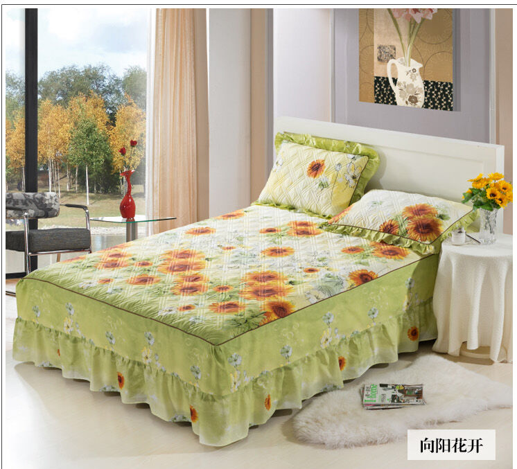 Details About Quilted Bedspread Bed Skirt Thick Cotton Linens 100 Sets Fl Print