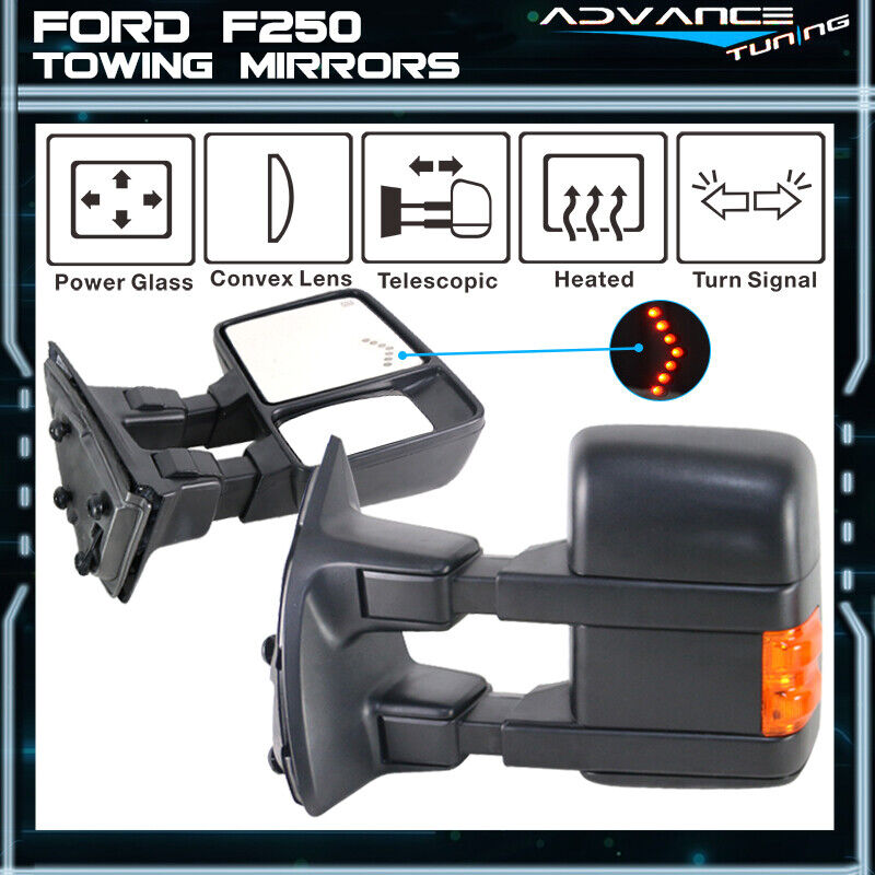 03 07 F250 Side View Towing Mirror Power Heated Turn