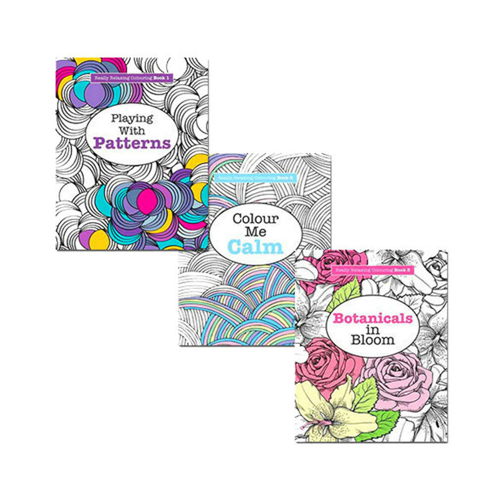 Really RELAXING Colouring 3 Books Collection Anti Stress Art Therapy New Me Calm 9781785950605