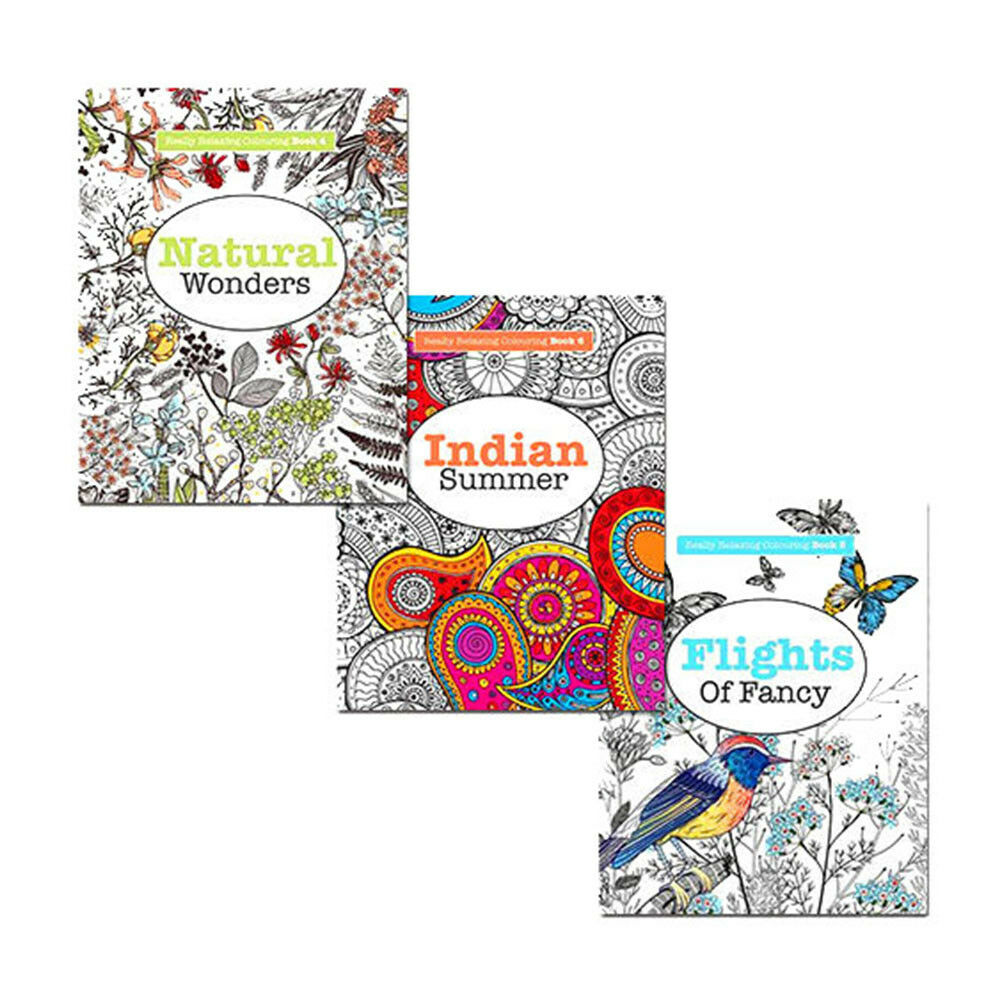 Really RELAXING Art Therapy Colouring 3 Books Collection
