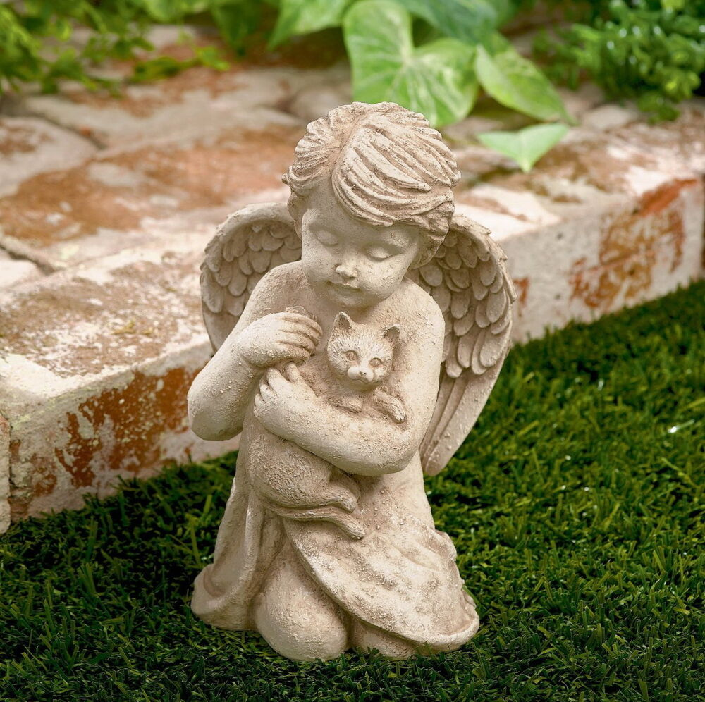Outdoor statue cherub with cat garden sculpture statues for Garden ornaments and accessories