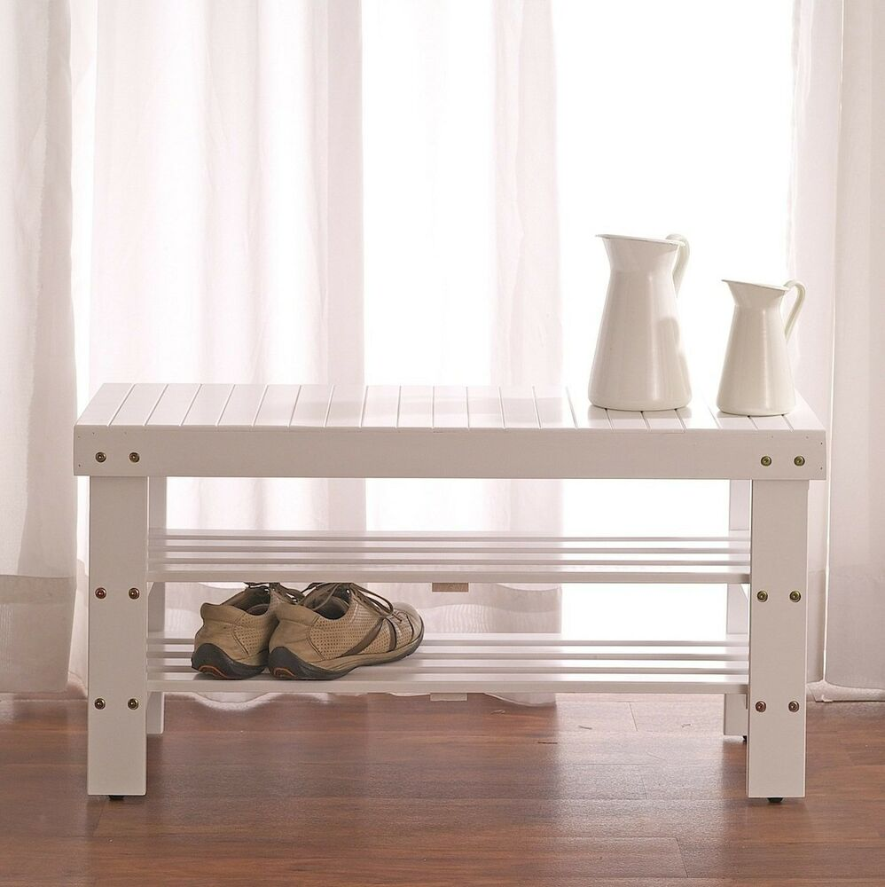 2 Tiers Wooden Shoe Bench Rack In White Finish