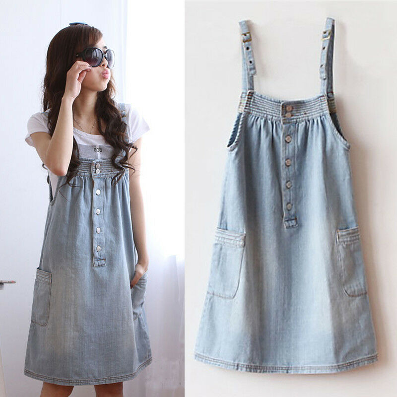 Women Casual Spaghetti Straps Denim Overall Jumper Dress Woman | eBay