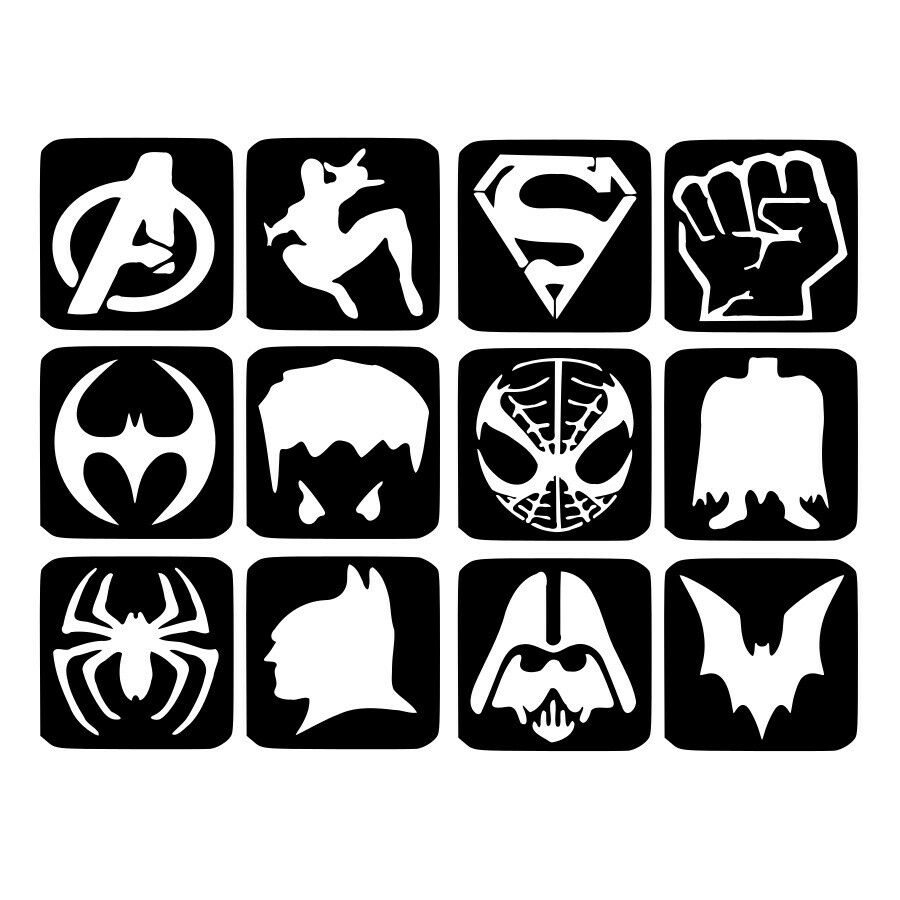 Superhero Logo Free Printable Stencil Templates For Face Painting