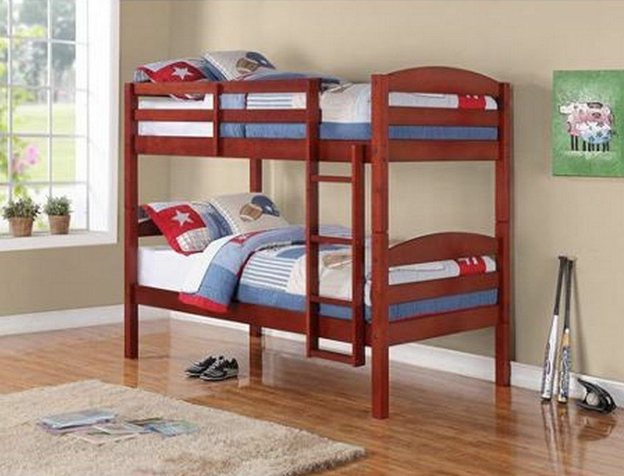 Twin Size Bunk Bed Walnut Convertible Loft Bed Solid Wood