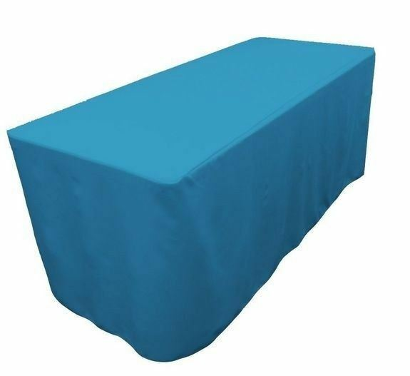 6 39 ft fitted polyester table cover trade show event tablecloth turquoise blue 707568439593 ebay. Black Bedroom Furniture Sets. Home Design Ideas