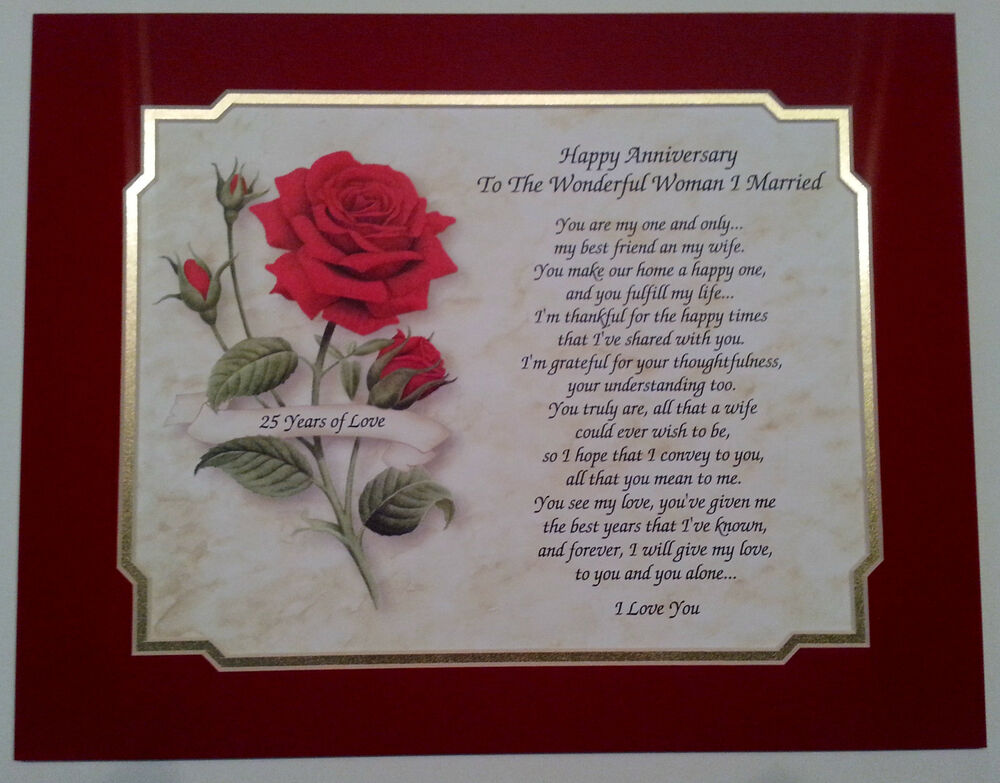 25th Wedding Gift For Husband : 25th Wedding Anniversary Gift Love Poem For Wife/Husband... eBay