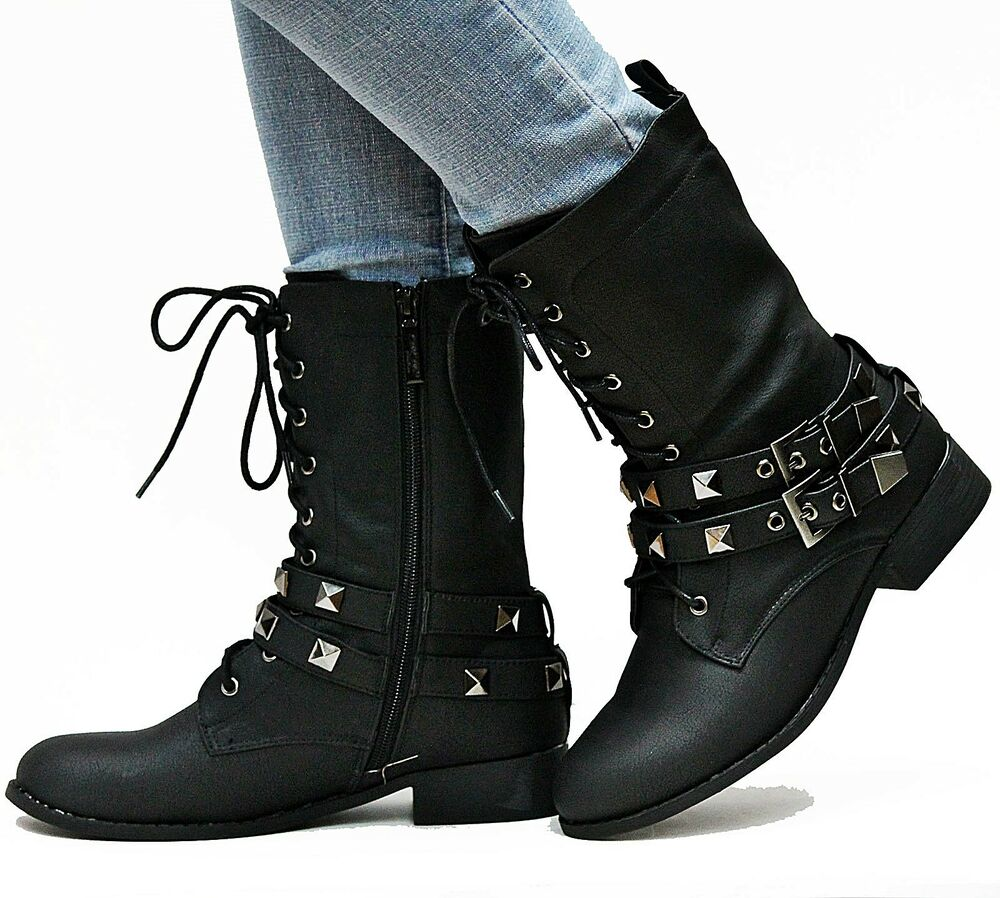 New Womens EL1 Black Studded Mid Calf Riding Military Combat Boots ...