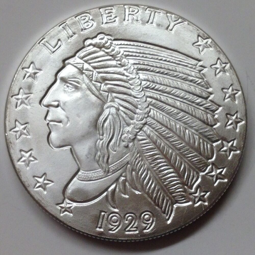 Silver 1 2 Troy Oz Incuse Indian Head 999 Pure Silver