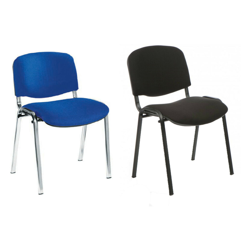 ISO Stacking Chair Blue Or Black Fabric School Office Chair EBay