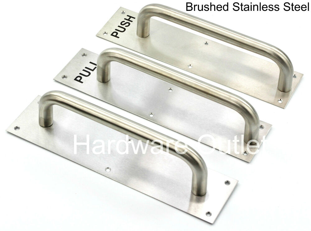 Brushed Stainless Steel Pull Handle On Backplate Plain