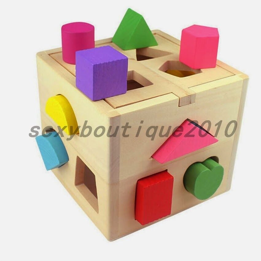 Building Wooden Toys : Colorful geometric wood building blocks kids puz