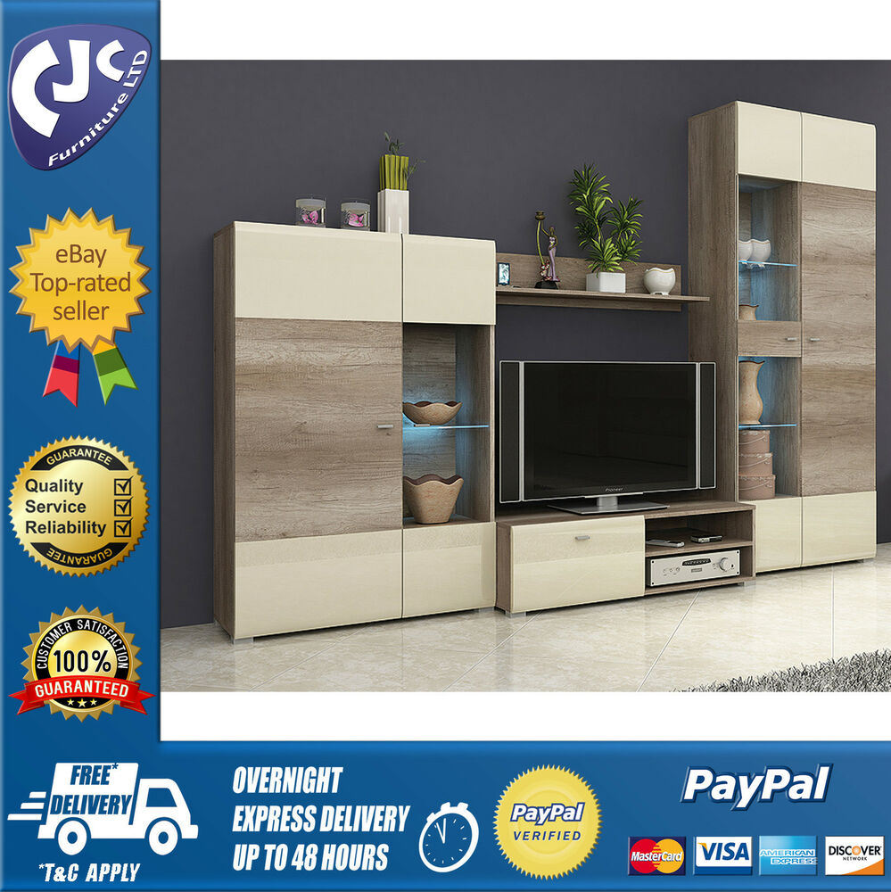 Living Room Furniture Set Display Unit Tv Stand Shelf  -> Tv Stand And Sideboard Set