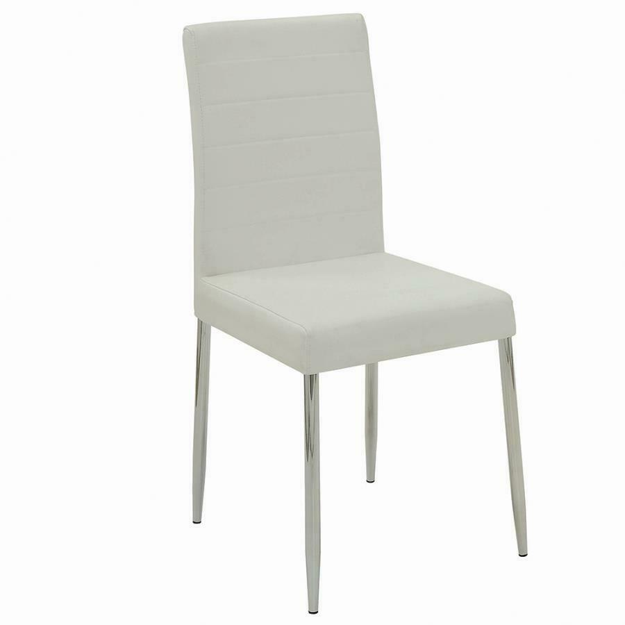 Vance contemporary white vinyl dining side chair by for Contemporary white dining chairs
