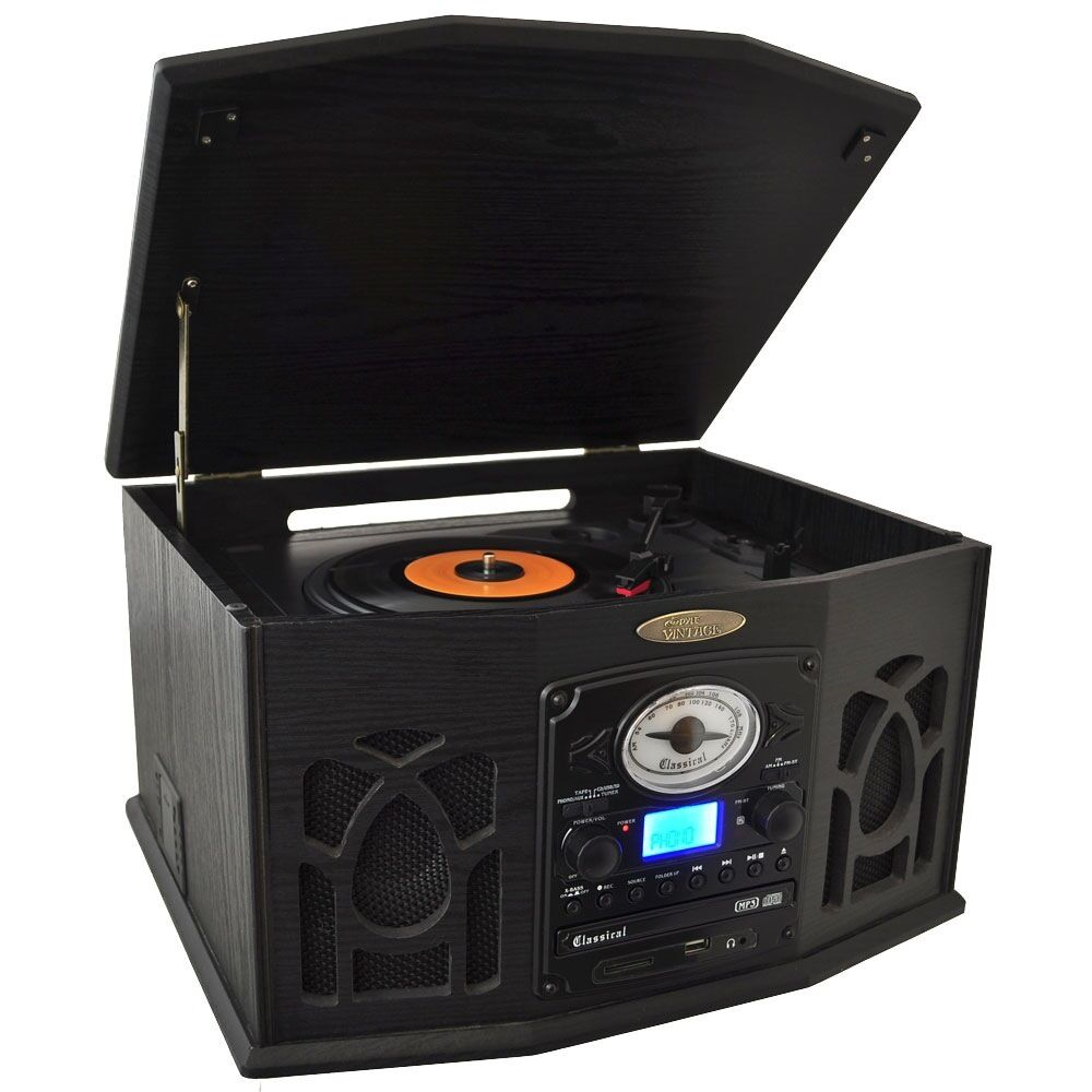 pyle 3 speed home stereo mp3 cd cassette record player turntable am fm radio ebay. Black Bedroom Furniture Sets. Home Design Ideas