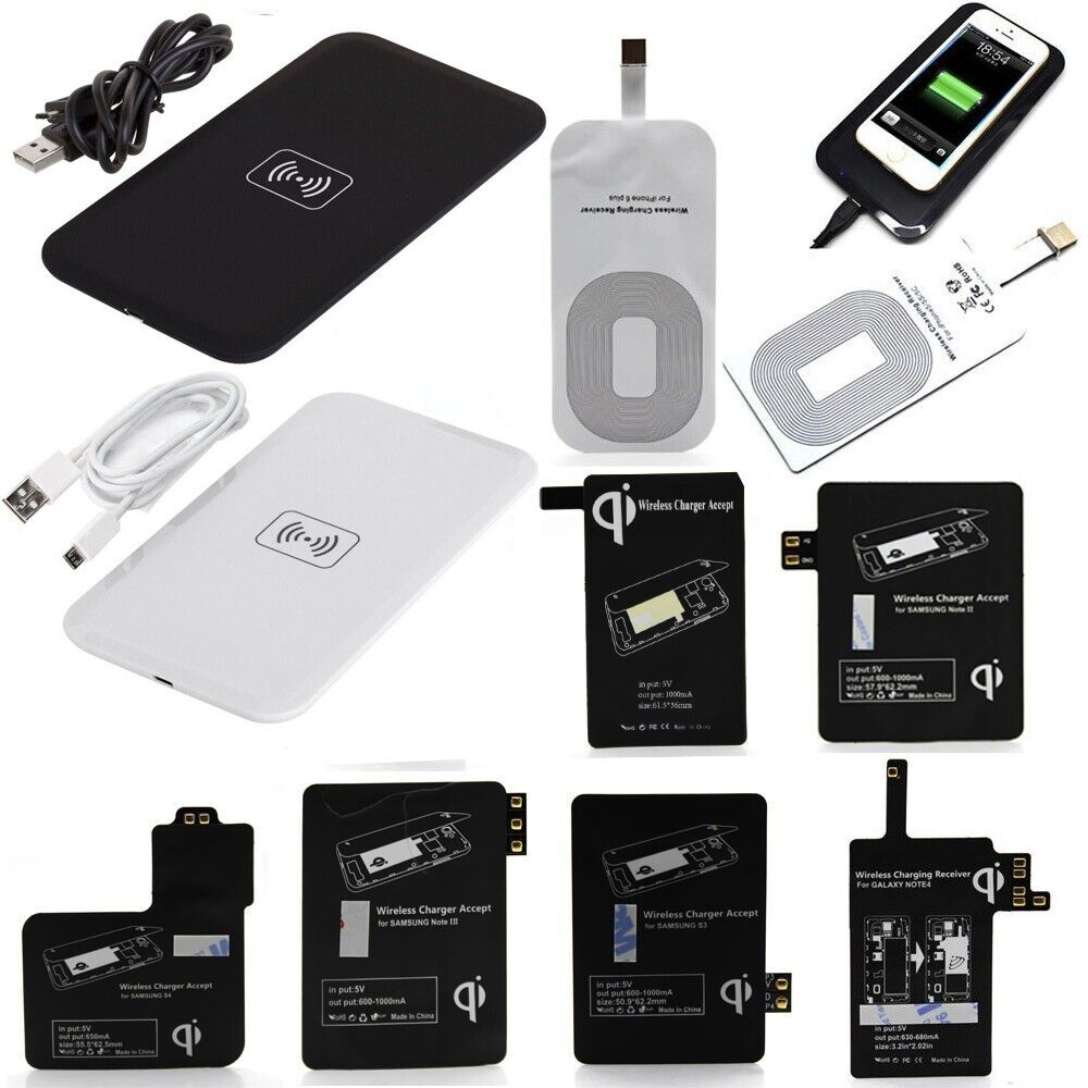 qi wireless charger charging pad receiver kit adapter. Black Bedroom Furniture Sets. Home Design Ideas
