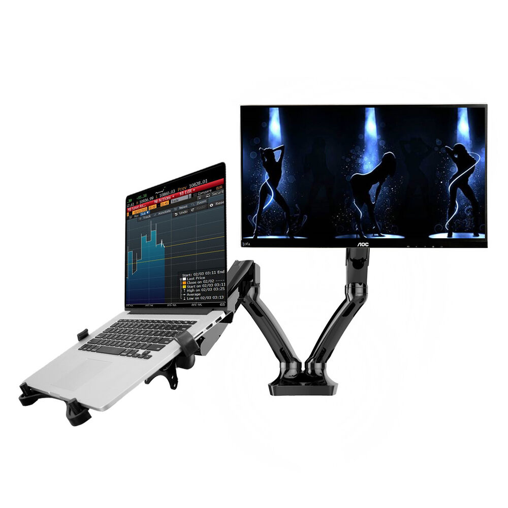 dual arm 2in1 desk mount 10 27 lcd monitor arm up 15 6 notebook laptop stand ebay. Black Bedroom Furniture Sets. Home Design Ideas