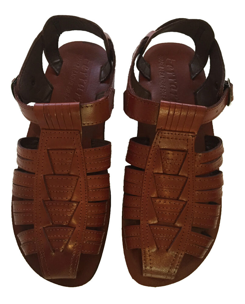 Men leather fisherman sandals brown strap shoes closed toe for Mens fishing sandals