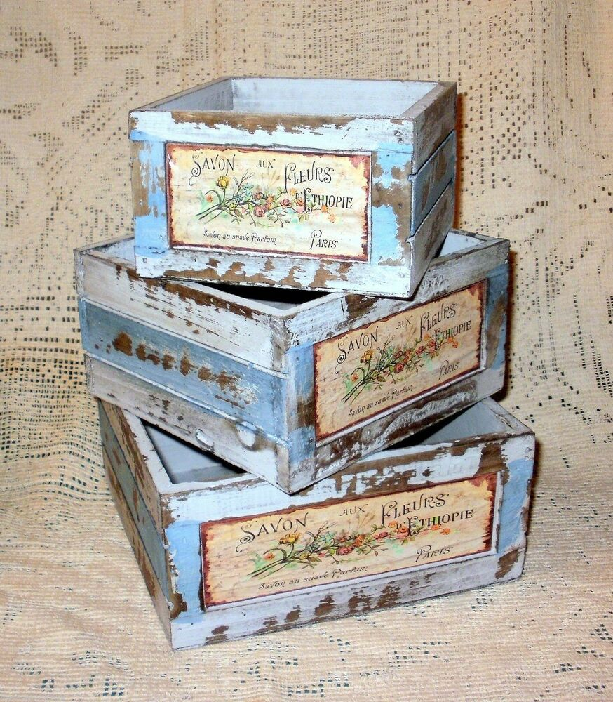 French Country Flower Market Weathered Wood Soap Box Crate