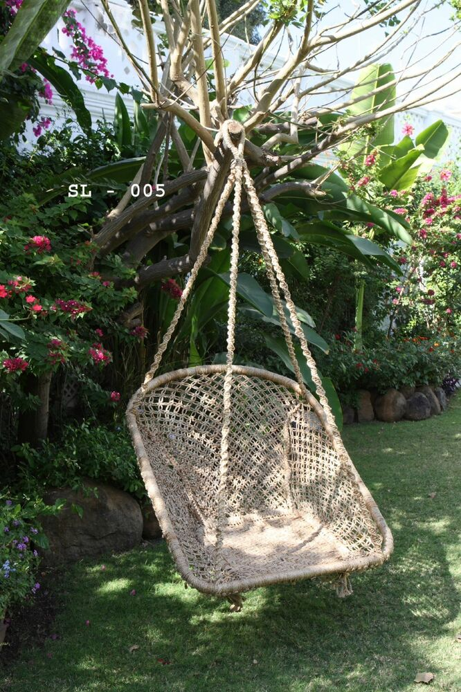 jute hammock hanging chair swing handmade macrame new ebay