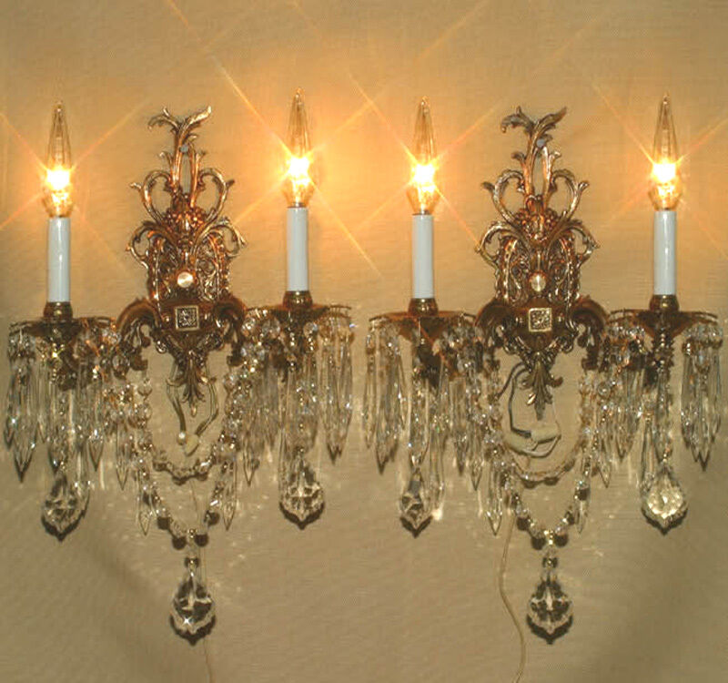 Wall Sconces Chandelier Crystal : Vintage ornate cast Gilt Bronze Brass Crystal lamps wall Sconces French Spain eBay