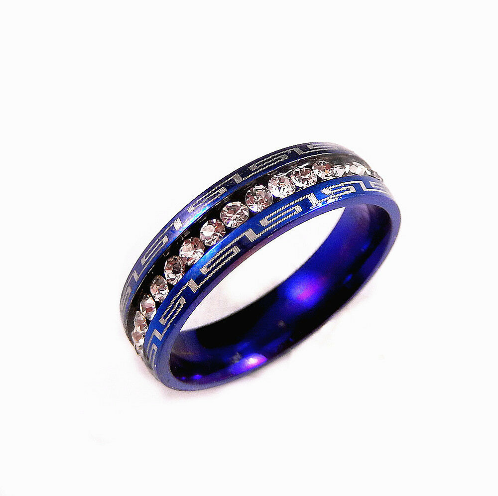 Blue Stainless Steel Clear CZ 5mm Wedding Band Engagement Ring Size 5 9