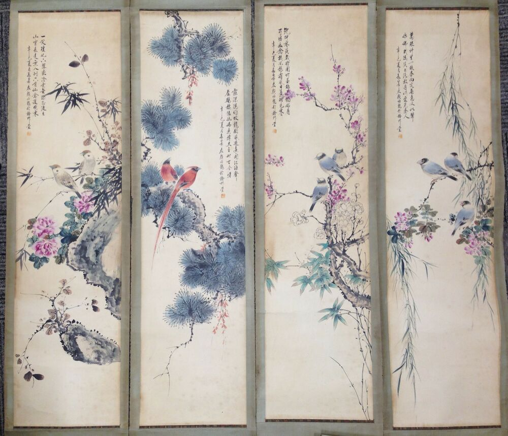 Antique Japanese Scroll: Old Chinese Antique Four Season Scrolls Set Painting Yan
