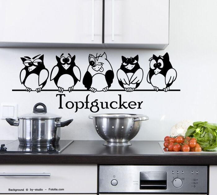 wandtattoo topfgucker eulen v gel kochen k che essen wandsticker 573 ebay. Black Bedroom Furniture Sets. Home Design Ideas
