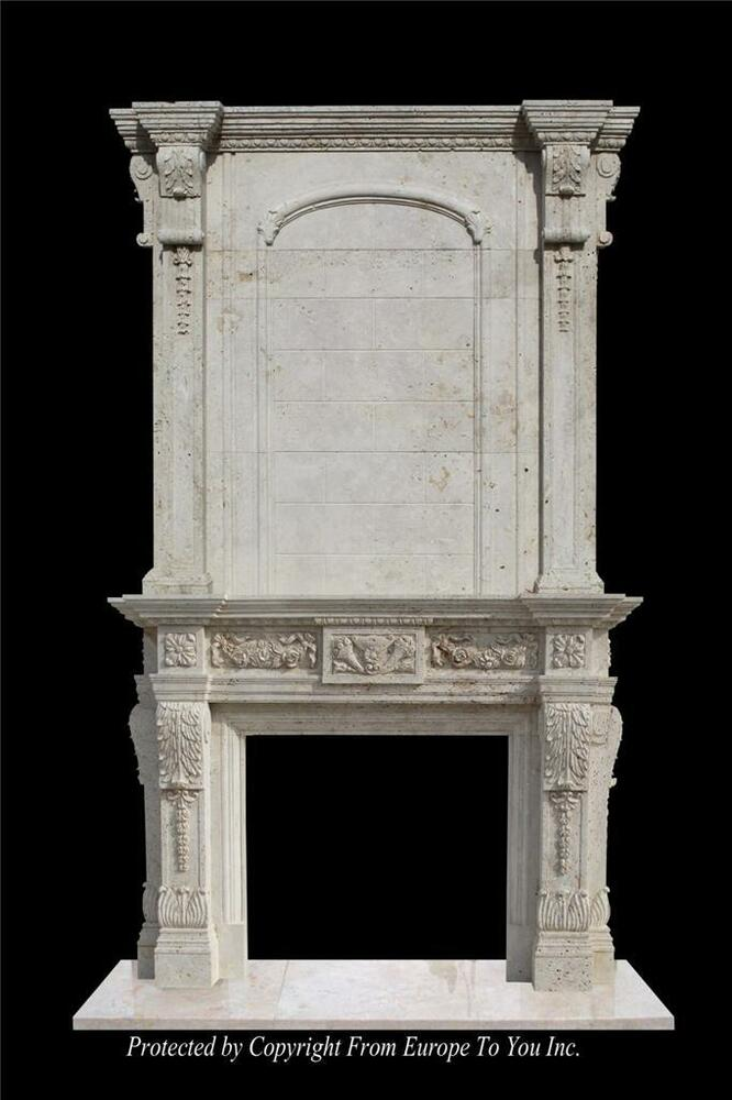 MONUMENTAL BEAUTIFUL HAND CARVED MARBLE ESTATE FIREPLACE ...