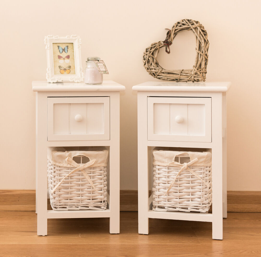 pair of shabby chic white bedside units tables drawers with wicker storage new ebay. Black Bedroom Furniture Sets. Home Design Ideas