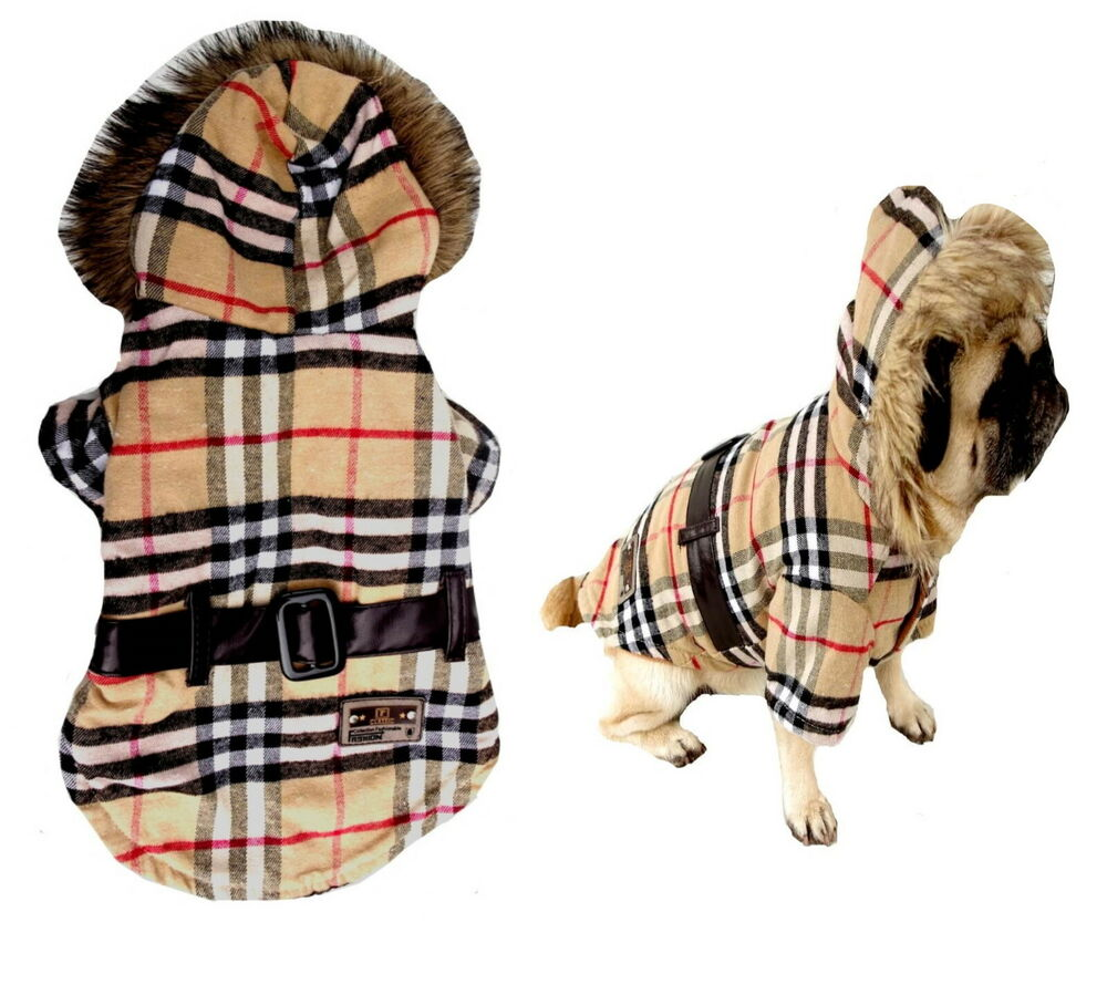 Dog coat tartan xs s m l chihuahua puppy jacket pet - Dog clothes for chihuahuas ...