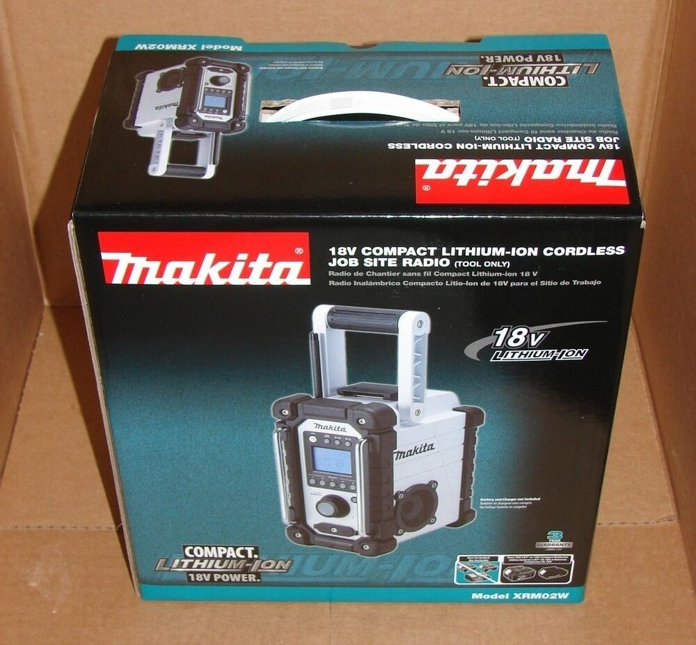 makita xrm02w cordless compact job site radio 18v li ion retail tool only am fm ebay. Black Bedroom Furniture Sets. Home Design Ideas
