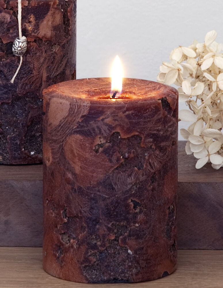 Red brown rustic pillar candle 3 x 4 ancient artifact for Rustic house candles