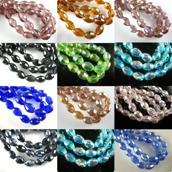 6x8mm Faceted Glass Crystal Finding Spacer Loose Oval Rugby Beads Free Shipping